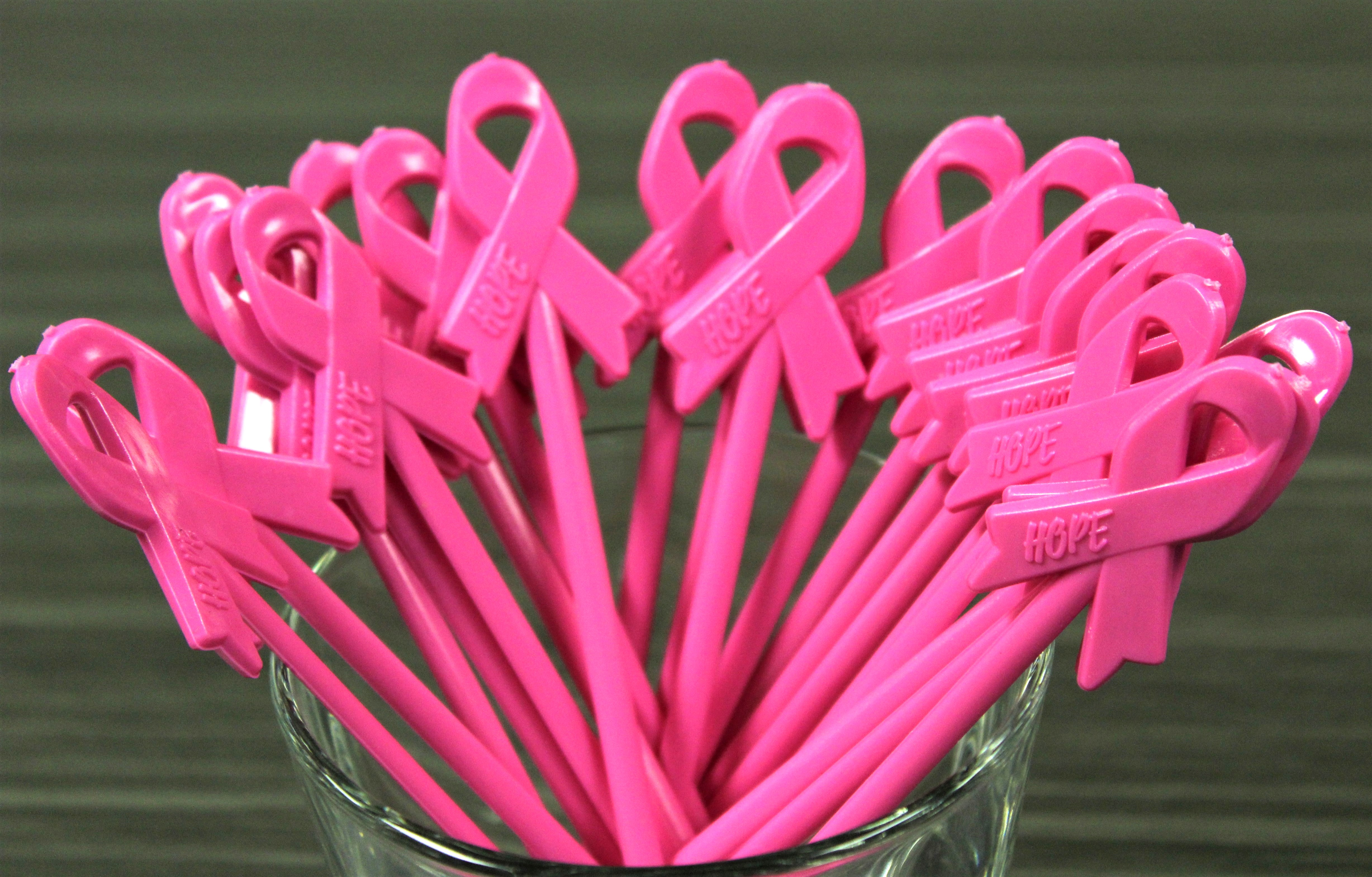 Breast Cancer Awareness Ribbon Swizzle Sticks